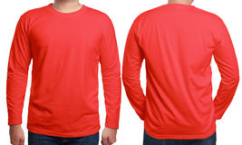 Red Long Sleeved Shirt Design Template Stock Photos