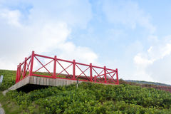 Red lookout on the green hill. With blue sky, at shenzhen, china royalty free stock photo