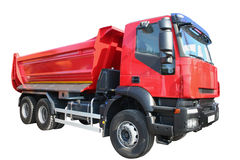 Red lorry. Isolated on white Royalty Free Stock Images