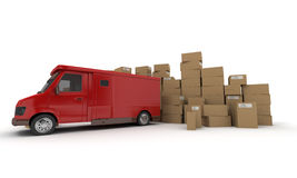 Red lorry and Boxes Stock Photos