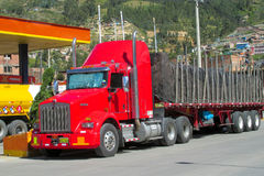 Red lorry at the gas station Stock Image
