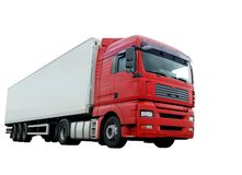 Red lorry with white trailer over white Royalty Free Stock Photo