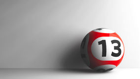 Red lottery ball 13. Red lottery ball with number 13 on grey background, three-dimensional rendering, 3D illustration Stock Image