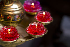 Red Lotus Candle Royalty Free Stock Photos