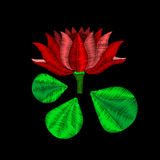 Red lotus flower - embroidery on black background. You can use this flower as a template for embroidery software or as a design el Royalty Free Stock Images