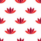 Red lotus flower seamless pattern. Vector Stock Photography