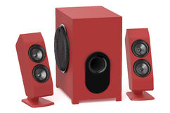 Red loudspeakers with subwoofer system 2.1 Royalty Free Stock Images