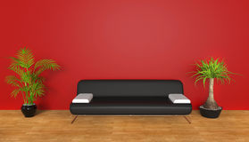 Red lounge room with plants Stock Images