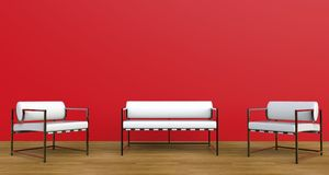 Red lounge room Royalty Free Stock Photo