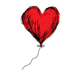 Red love balloon heart doodle hand drawing vector Royalty Free Stock Images
