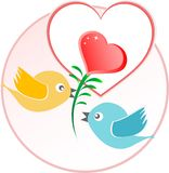 Red love bird with heart balloons over beige. Background Royalty Free Stock Photo