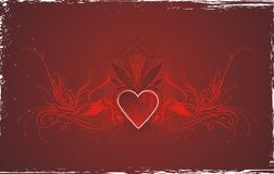 Red love card design. Abstract valentines illustration with red heart and decorative floral design elements Royalty Free Stock Image