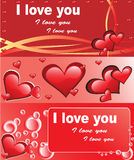 Red love cards. Vector illustation Royalty Free Stock Photos