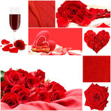 Red love collage with roses, vine glass and heart. Red love collage with roses flowers, vine glass, silk and heart - Valentine's Day background Royalty Free Stock Photos