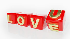 Red Love cubes letters Royalty Free Stock Image