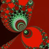 Red love fractal art, abstract fractal in red and turquoise vector illustration