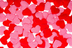 Red Love. Red Gingham and red Love heart Valentines background Stock Photography