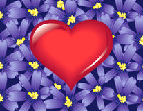 Red love heart. Over purple flowers illustration Vector Illustration