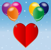 Red love heart and balloons Royalty Free Stock Photography