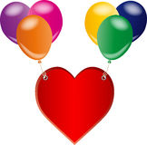 Red love heart and balloons Stock Photo