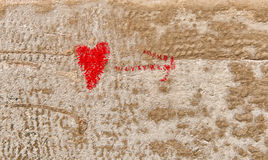 Red Love Heart hand drawn on brick wall Royalty Free Stock Image