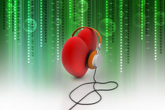 Red Love Heart with Headphones Royalty Free Stock Photos