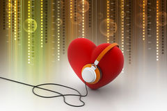Red Love Heart with Headphones Royalty Free Stock Photography