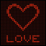 Red Love Heart on a LED Board. Against a black background royalty free illustration