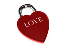 Red love heart lock. Isolated on white background stock illustration