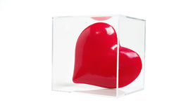 Red Love Heart in Plastic Box Royalty Free Stock Image
