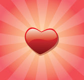 Red love heart and sunburst Royalty Free Stock Image
