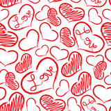 Red love heart symbols grunge hand-drawn pattern eps10 Stock Photography