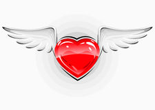 Red love heart with white wings Stock Image