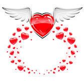 Red love heart with white wings flying stock illustration