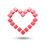 Red love hearts cube Stock Photo