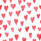 Red love hearts seamless pattern. Doodle sketch holiday tile orn Stock Images