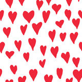 Red love hearts seamless pattern. Valentine`s day ornamental bac Royalty Free Stock Photo