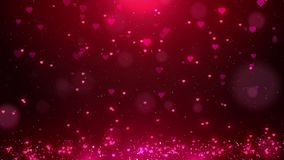 Red love hearts sparkle glitter particle motion background with bokeh, Valentine