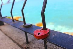 Red Love Lock, Koch Samui. It is believed that by locking a lock at some of the places you can lock your love forever. This is once such place in Koh Samui stock photos