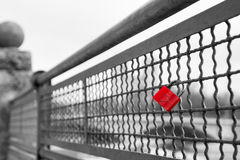 Red love lock padlock with heart symbol of unbreakable love Stock Photography