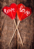 Red love lolly pops Royalty Free Stock Photo