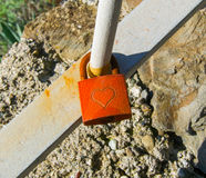Red love padlock Royalty Free Stock Photo