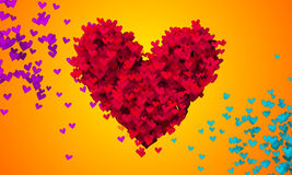 Red Love Particles Heart Shape 3D orange background Royalty Free Stock Image