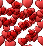 Red love seamless background of heart bubbles. Stock Photo