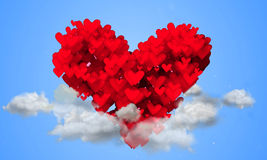 Red Love Shape Particles on the sky blue background Stock Photo