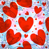 Red love shape seamless pattern Stock Photos