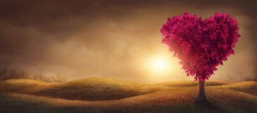 Free Red Love Tree Royalty Free Stock Photography - 169742777