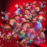 Red love and Valentine. Small and huge colorful hearts and stars on a red fractal background for love supports Stock Photos