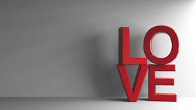 Red love  2. Red word love on grey background, represented love and Valentine`s day, three-dimensional rendering, 3D illustration Royalty Free Stock Image