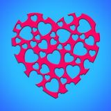 Red lovely heart. With shaped many little hearts inside over blue background Stock Photos